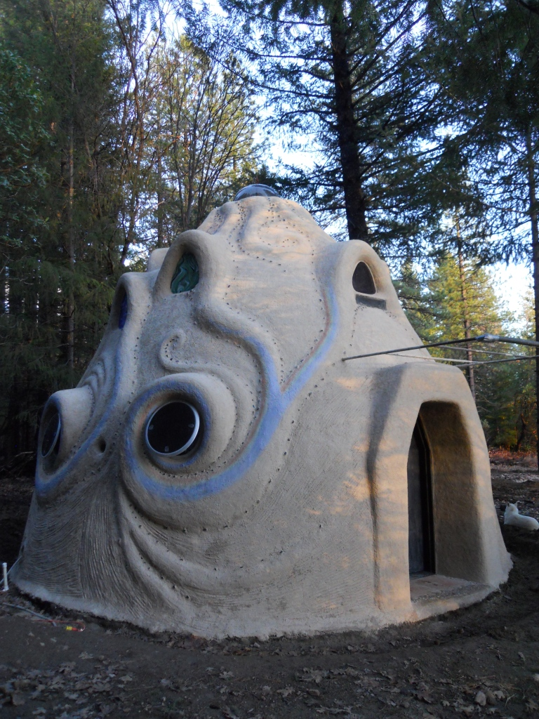 Our mud hut built in Round Valley, California within the Mendocino National Park in Northern California.